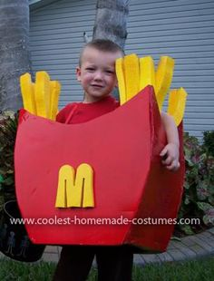 Homemade French Fry Costume: This is my 3 yr old son, Owen as a box of McDonald's French fries. My niece went as a hamburger (bought online) but we couldn't find a fry costume so I