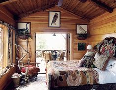 A plethora of folkloric charm in this bedroom in Mimi McMakin's fabulous mountain home (Celery Kimball's Mother).