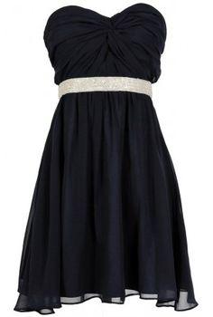 $80- - -Twisted Chiffon Embellished Designer Dress in Navy