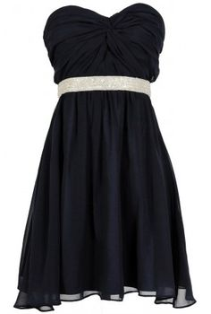 $80- - -Twisted Chiffon Embellished Designer Dress in Navy