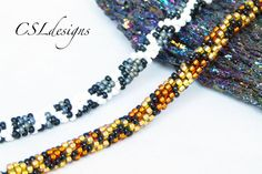 Black & White snow leopard/ tan leopard pattern bracelets (same pattern as blue necklace) Beaded kumihimo tutorials — CSLdesigns