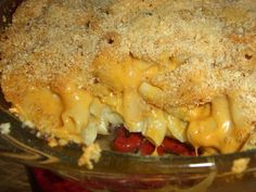Baked Daiya Mac 'n' Cheese  http://veggywood.com/2010/04/13/repost-daiya-baked-mac-cheese/