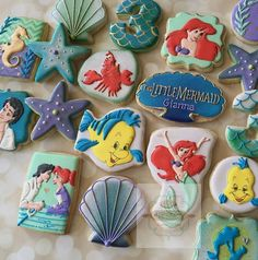 "Natasha on Instagram: ""Little Mermaid character cookies! These were fun but I'll…"