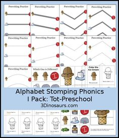 Free Alphabet Stomping I Tot-Preschool Pack - 20 pages of activities…