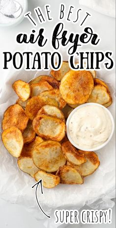 Light, crispy, and delicious, these easy homemade air fried potato chips are healthy because they're seasoned with salt and pepper and cooked to perfection in the air fryer! Much better than store bought! #chips #potatochips #homemadepotatochips #airfryer #airfried Air Fryer Chips, Air Fryer Potato Chips, Air Fry Potatoes, Fried Potato Chips, Fried Chips, Crispy Potatoes, Potato Chips Homemade, How To Make Potatoes, Gluten Free Cooking
