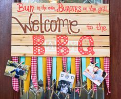 BABY BBQ Coed Baby Shower Decoration ; Bun in the oven, burgers on the grill ; Wooden sign ; Gingham Decor