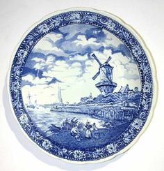 """Dutch Porcelain Blue Delft Charger. 15.5""""d"""