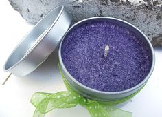 Hand Poured Violet Lime Scent Palm Wax Candle Tin by curiouscarrie, $7.50