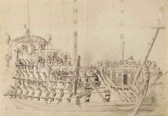 A flagship, seen from the bow, traditionally identified as the 'Zeven Provinciën' by Willem van de Velde II