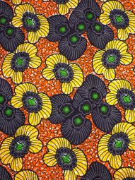 African Real Wax Cloth Material Yellow Flower 6 Yards Cotton For Dress rw512905