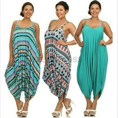 Plus size Romper harem palazzo pants jumpsuit Boho Brand new without tags. The color may vary brighter / lighter than the actual product,KINDLY CHECK MEASUREMENTS. Fabric Content : rayon + spandex   Trendy plus size Rompers exotic prints to choose from. 1) Stripes print 2) Aztec/geo print  3) Floral Print to choose from.  Nice weight fabric not thin one. Perfect for fall. Oversized Loose fit drape harem Romper jumpsuit  side hidden pockets Boutique  Pants Jumpsuits & Rompers