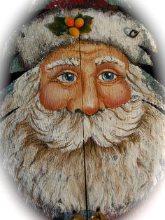 Primitive Victorian Santa Painting by mothersdream Primitive Christmas, Rustic Christmas, Christmas Art, Christmas Projects, Christmas Signs, Vintage Christmas, Santa Paintings, Christmas Paintings, Primitive Santa