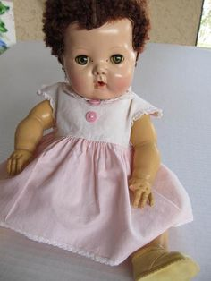 American Character TINY TEARS DOLL Caracul Wig   Cute Face! TLC    my childhood's favorite doll