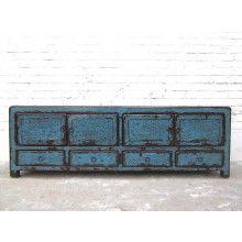 China TV Lowboard Kommode heavy used vintage Optik in Blau