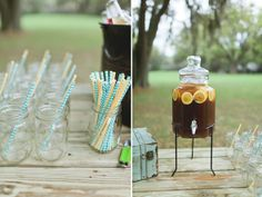 we will have a set up very similar to this that I would like a shot of - mason jars, lemonade, and the paper straws