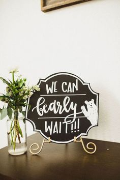 We Can 'Bearly' Wait chalkboard sign from a Rustic Camping Baby Shower on Kara's… - Everythink for Babyshower Baby Shower Oso, Fiesta Baby Shower, Teddy Bear Baby Shower, Boy Baby Shower Themes, Baby Shower Gender Reveal, Baby Shower Signs, Baby Shower Stuff, Baby Boy Babyshower Themes, Baby Boy Signs