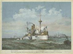 Battleship Maine arriving in Havana Harbor, 1890s. Cuba History, Naval History, Military Art, Military History, Montague Dawson, Royal Australian Navy, Historical Art, Navy Ships, Ship Art
