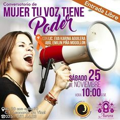 En la actualidad la violencia contra las mujeres y las niñas es una de las violaciones de los derechos humanos más extendidas persistentes y devastadoras del mundo. - En el marco del Día de la Erradicación de la Violencia contra la Mujer te invitamos al conversatorio con la Lic. @evaaguilera y la Abg. @emilinpina Los esperamos este sábado 25 de Noviembre a las 10:00am en #TiendasAurora te esperamos! #EntradaLibre . #Charla #convesatorio #Mujer #Dama #Derechos #Libertar #Libre #Violencia…