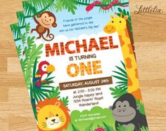 BIG SELECTION Jungle Birthday Invitation por MyCelebrationShoppe