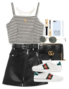 """""""Sem título #5740"""" by lguimaraes ❤ liked on Polyvore featuring Vichy, Maje, Gucci, Ray-Ban and Yves Saint Laurent"""