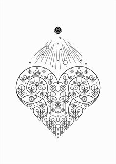 Floral Hearts (Life, White over Black) / Personal project / Illustration / 21 x 29,7 cm. /