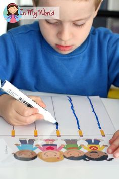 Back to School Preschool Centers - FREE Pre-Writing Tracing page