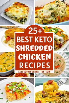 25 Best Keto Shredded Chicken Recipes Shredded chicken is excellent for weekly meal prep recipes. In this collection of the best shredded chicken recipes, your family's new favorite is waiting! Low Carb Chicken Casserole, Low Carb Chicken Recipes, Keto Recipes, Healthy Recipes, Healthy Shredded Chicken Recipes, Keto Casserole, Bariatric Recipes, Ketogenic Recipes, Recipes Dinner
