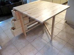 collapsible desk. Stores away at only 12 inches wide. The width is 31 1/2 inches.The top when both sides are open his top is 31 1/2 inches x 5 feet. the birch wood color is S179, but it comes in white for s199. Height is 29 1/4 inches high. Product name Norden from ikea.