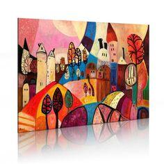 Obraz na płótnie dla dzieci. Kolorowy obraz z widokiem miasteczka. Wesoła dekoracja z pomysłem na pokój dziecka.