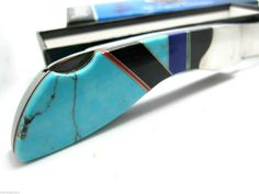 Vintage Santa FE Folding Knife with Turquoise Jet Lapis Old Stock in Box Collectible Knives, Vintage Santas, Folding Knives, Fes, Santa Fe, Turquoise, Ebay, Collector Knives, Butterfly Knife