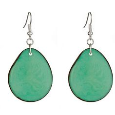 Hoja Earrings Aqua  by Mujus--made from tagua seed by impoverished community in Peru