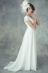 Elegant white chiffon wedding gown by Jaime Elyse Chiffon Wedding Gowns, Wedding Gowns With Sleeves, Wedding Dresses, Elle Magazine, White Chiffon, Elegant, Style, Fashion, Bride Dresses