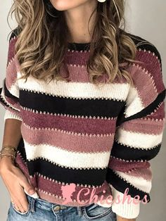 For Sale - QUEVOON Striped Sweaters Women Mohair O-neck Lantarn Sleeve Knitted Pullovers Vintage Female Jerseys Loose Knit Ladies Jumper Casual Sweaters, Pullover Sweaters, Striped Sweaters, Knitting Sweaters, Jumpers For Women, Sweaters For Women, Vestidos Fashion, How To Start Knitting, Pulls