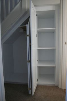 Mike Jones Furniture - handmade bespoke furniture and cabinet making - Understairs Loft Rooms Stairway Storage, Hallway Storage, Basement Storage, Wall Storage, Basement Remodeling, Paint Storage, Storage Under Stairs, Office Storage, Storage Bins