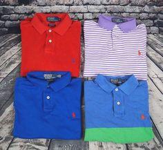 Lot of 4 Polo Ralph Lauren Men's Custom Fit Shirts Short Sleeve Sz. M Medium #PoloRalphLauren #PoloRugby