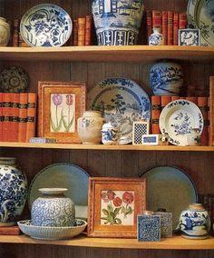 Creative Home Expressions: Accessorizing A Bookcase Styling Bookshelves, Decorating Bookshelves, Bookshelf Ideas, White Kitchen Decor, White Decor, Blue And White China, Ginger Jars, Creative Home, Creative Ideas