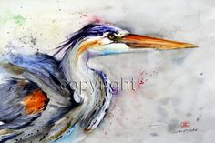 HERON Colorful Watercolor Print by Dean Crouser by DeanCrouserArt
