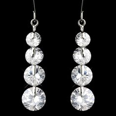 Silver Clear Cubic Zirconia 4 Drop Dangle Earrings 9528 $13