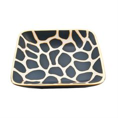 A modern giraffe print adorns this lovely ceramic tray. Small, medium and large decorative trays are a beautiful accent for any room. Blue Gold, Blue And White, Black, White Tray, Square Tray, Giraffe Print, Tray Decor, Sunglasses Case, Home Goods