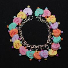 "love these polymer clay ""candy heart"" bracelets from Sumter Creek Studios on Etsy."