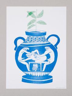 Super Groupe, poster ( vase grec ) imprimé en riso. Illustration, Objects, Graphic Design, Statue, Mugs, Drawings, Tableware, Pattern, Blog