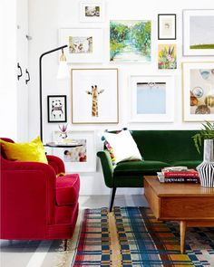 "402 Likes, 65 Comments - kristen rivoli (@kristenrivoli_interiordesign) on Instagram: ""Big color, pattern and art in this room via @admexico photo by @zekeruelas * * #livingroom #green…"""