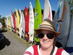Surfboard wall! Be sure to stop for a photo op plus amazing food and drinks for your drive on the Road to Hana!