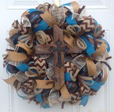 Deco Mesh Cross Wreath  Deco Mesh Wreath  by KaylasKreationsTX...$75.00