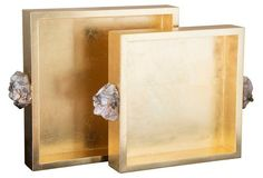 Pair of 2 Astoria Quartz Handle Metallic Gold Square Trays -- These sleek artisan-crafted trays are covered in lacquered gold leaf and feature natural smoky quartz handles that have a rose gold application and a clear high-gloss coat.
