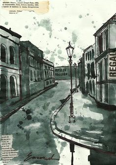Print Art Ink Drawing City Original Art Painting by M.E.Ologeanu $10.00