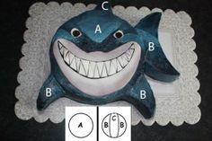 Cool way to make a shark cake. Shark Cupcakes, Shark Cake, Shark Birthday Cakes, 5th Birthday, Birthday Ideas, Fete Audrey, Shark Party, Baby Shark, Mad