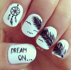 Feather nail art - 40+ Examples of Feather Nail Art  <3 !