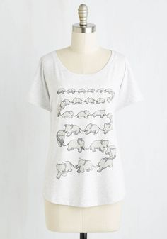 Right on Queue Top. When is the perfect time to sport this pachyderm-printed top, you wonder? #white #modcloth