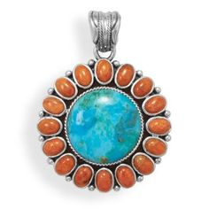 "Oxidized sterling silver pendant with a turquoise and orange coral sunburst design. The turquoise stone is 18mm, and is surrounded by 5mm x 6mm orange coral stones. The pendant hangs approximately 2"". Available at Hingham Jewelers!"